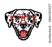 dalmatian dog with red... | Shutterstock .eps vector #1866181027