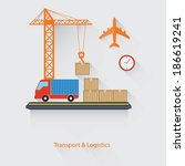 transport and logistics concept ... | Shutterstock .eps vector #186619241