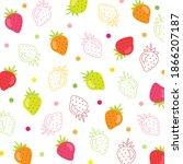 fruit pattern.cute strawberry... | Shutterstock .eps vector #1866207187