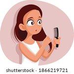 funny teen girl combing her...   Shutterstock .eps vector #1866219721
