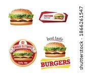 vector realistic hamburger... | Shutterstock .eps vector #1866261547