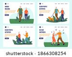 elderly people landing page set.... | Shutterstock .eps vector #1866308254