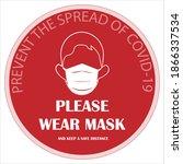 wear mask sign logo. please...   Shutterstock .eps vector #1866337534