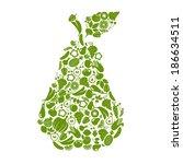 fruit and vegetables in shape...   Shutterstock .eps vector #186634511