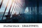 modern spacious office interior ... | Shutterstock . vector #1866359851