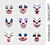 Crazy Clowns Faces On White...