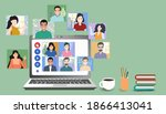 video online conference. video... | Shutterstock .eps vector #1866413041