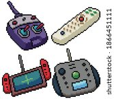 Pixel Art Set Isolated Remote...