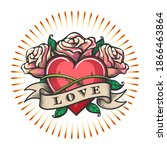 heart and rose flowers with... | Shutterstock .eps vector #1866463864