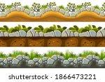 set of seamless border old gray ...   Shutterstock .eps vector #1866473221