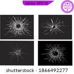 broken glass  cracks  bullet... | Shutterstock .eps vector #1866492277