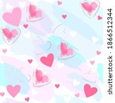 seamless romantic pattern. pink ... | Shutterstock .eps vector #1866512344