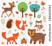 funny forest animals collection | Shutterstock .eps vector #186663461