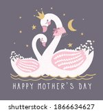 cute swan vector.happy mothers... | Shutterstock .eps vector #1866634627
