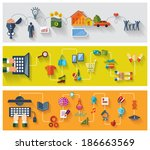 flat and web design banners.... | Shutterstock .eps vector #186663569