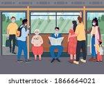 passengers in masks in public... | Shutterstock .eps vector #1866664021