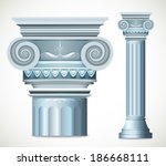 blue greece column. vector... | Shutterstock .eps vector #186668111