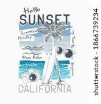hello sunset slogan with hand... | Shutterstock .eps vector #1866739234