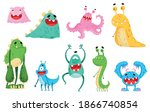 funny smiling toothy monsters... | Shutterstock .eps vector #1866740854