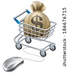 Mouse connected to trolley full of money in a big sack with a dollar symbol on it. - stock vector