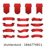 red ribbons  label set  shiny...   Shutterstock . vector #1866774811