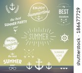 retro elements for summer... | Shutterstock .eps vector #186677729