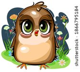 little sparrow. funny chick.... | Shutterstock .eps vector #1866795184