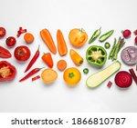 different fresh vegetables on... | Shutterstock . vector #1866810787
