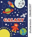 cartoon space card design.... | Shutterstock .eps vector #186682307