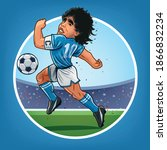 maradona in action in a match... | Shutterstock .eps vector #1866832234