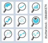 magnifier icons  analysis icons | Shutterstock .eps vector #186684374