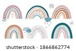 scandinavian cute rainbow... | Shutterstock .eps vector #1866862774