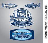 blue fish sign and labels | Shutterstock .eps vector #186687101