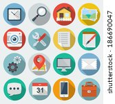 flat icons with long shadow set ... | Shutterstock .eps vector #186690047