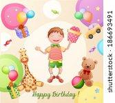 happy birthday illustration... | Shutterstock .eps vector #186693491
