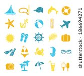set of colored icons for summer | Shutterstock .eps vector #186694271
