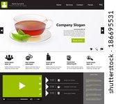 flat design   website template... | Shutterstock .eps vector #186695531