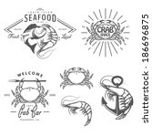 set of vintage seafood labels ... | Shutterstock . vector #186696875
