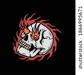 burning skull illustration... | Shutterstock .eps vector #1866995671