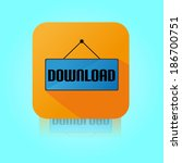 flat color download label icon | Shutterstock .eps vector #186700751