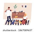 family couple sorting  folding... | Shutterstock .eps vector #1867089637
