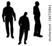 vector silhouette of people on... | Shutterstock .eps vector #186710861