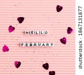 white hello february beads... | Shutterstock . vector #1867131877