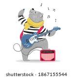 cute rockstar bear playing... | Shutterstock .eps vector #1867155544