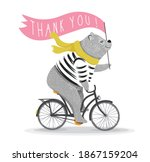 Cute Bear Cycling And Thank You ...