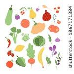 color fruits vegetables. onion...   Shutterstock . vector #1867171384