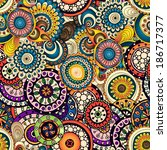 seamless doodle flower... | Shutterstock .eps vector #186717377