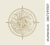 compass and waves in high tide  ... | Shutterstock .eps vector #1867195507
