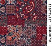 cashmere paisley silk fabric... | Shutterstock .eps vector #1867210531