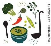 vegetable green soup cooking.... | Shutterstock .eps vector #1867262941